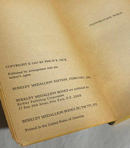 copyright page of Philip K Dick COUNTER-CLOCK WORLD Berkeley X1372