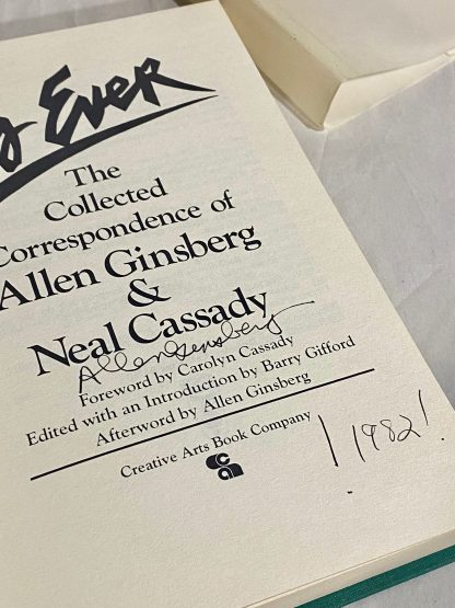 Allen Ginsberg signature page on As Ever: The Collected Correspondence of Allen Ginsberg and Neal Cassady.