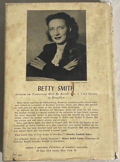 Back cover of BETTY SMITH Tomorrow Will Be Better.