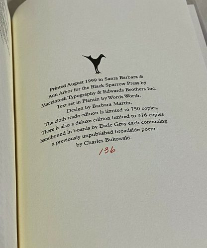 colophon pages from Charles Bukowski Price Guide and Bibliography