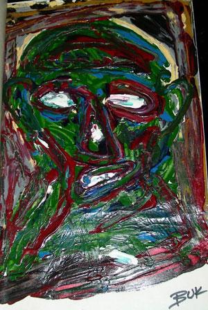 Charles Bukowski oil painting