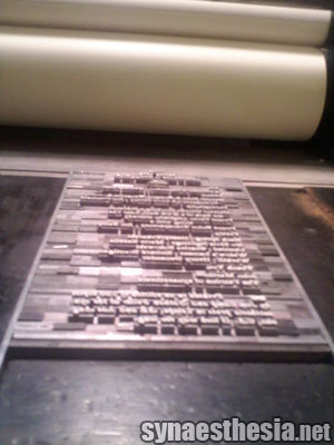 Volta's colophon on the press bed