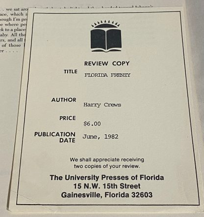 Review slip laind into HARRY CREWS Florida Frenzy.