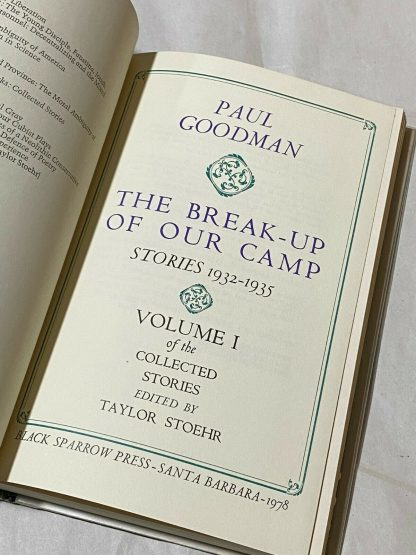 Title page of PAUL GOODMAN The Break-Up of Our Camp (Stories 1932-1935) VOLUME I of the Collected Stories