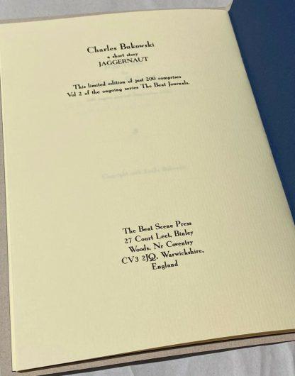 Copyright page of Charles Bukowski chapbook Jaggernaut