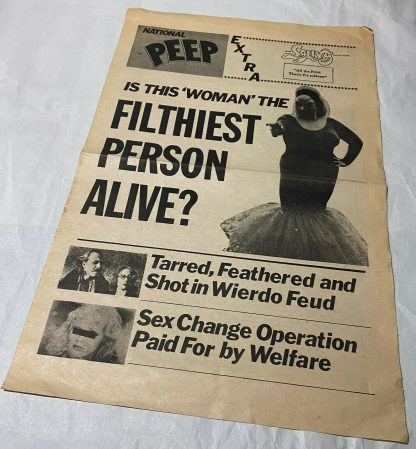"""Cover of NATIONAL PEEP. A one-page """"tabloid"""" published by Saliva Films"""