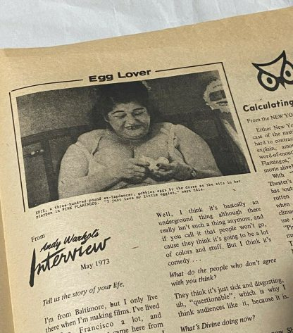 """edith massey in NATIONAL PEEP A one-page """"tabloid"""" published by Saliva Films"""
