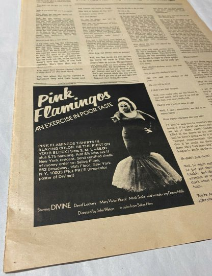 """pink flamingos in NATIONAL PEEP A one-page """"tabloid"""" published by Saliva Films"""