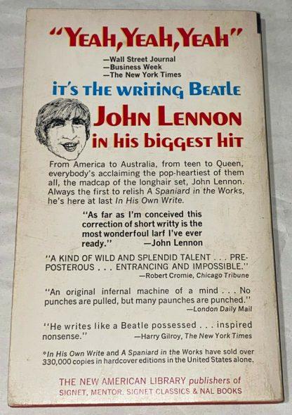 back cover of John Lennon THE WRITING BEATLE