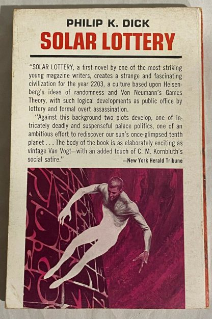 back cover of Philip K. Dick SOLAR LOTTERY Ace G-718