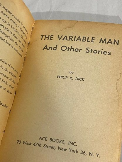Title page of Philip K. Dick THE VARIABLE MAN AND OTHER STORIES Ace D-261