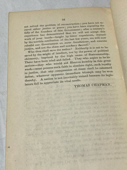Last page of THOMAS CHAPMAN. False Reconstruction; Or, The Slavery That Is Not Abolished.